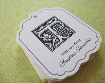 Christmas Gift Tags, Monogram Wedding Favor Tag, or Custom Product Label or Handmade By Tags