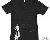 Unisex SMOKING FLAPPER American Apparel Deep V-Neck Tri-Blend Tee