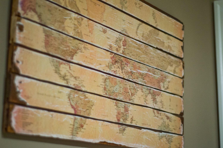 Wood World Map Wall Hanging