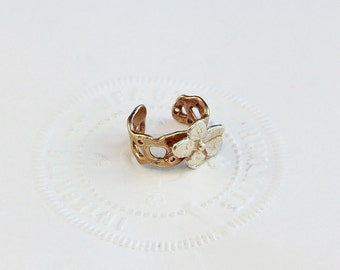 Silver Flower Ear Cuff Band - Brass Band with Sterling Silver Flower - Non Piercing Earring Cartilage Cuff Wrap