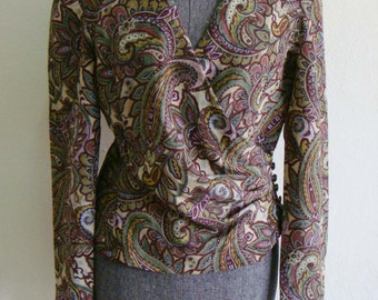 Vintage 70s Paisley Floral Flower Loose purple double breasted cropped pleated Jacket Blazer M L sale