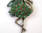 Flamenco Bird Brooch Animal Figural  Green Rhinestone Pin Vintage (n73)
