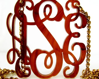 Acrylic Monogram Necklace - Custom  Acrylic Jewelry -Tortoise Shell
