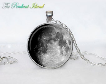 MOON NECKLACE Moon Pendant  Galaxy Space  Grey Moon  Jewelry Necklace for men  Art Gifts for Her(P11H03V02)