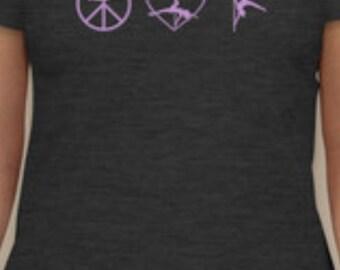 Peace Love Pole Dancing T-Shirt Size MEDIUM