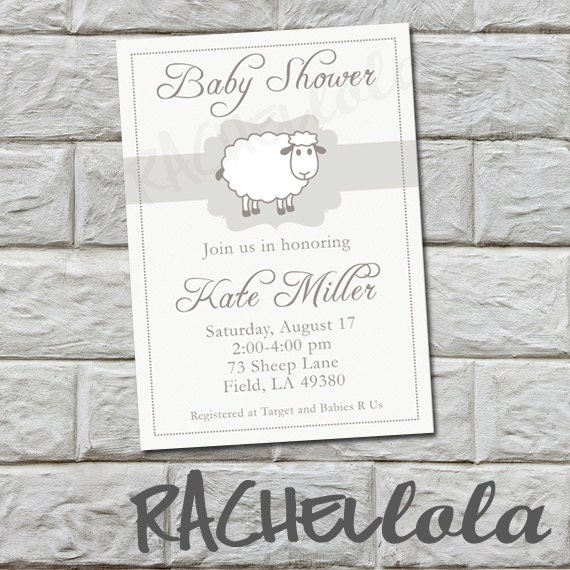 Sheep Lamb Baby Shower Invitation Diy Printable By Rachellola