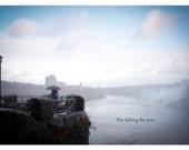 I'm falling for you - Valentine Pun - Sweet Romantic Niagara Falls Scenic Overlook - Color Photo Greeting Card (5x7)