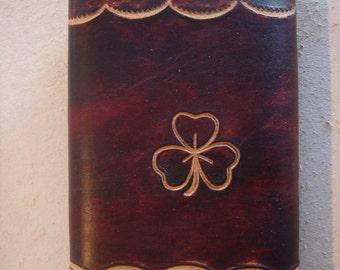 Tooled Brown Leather Trifold Wallet - Triplefold Billfold - Shamrock