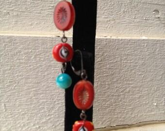 Wine Red Hyacinth Dangling Earrings