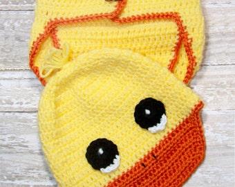 Duck crochet hat, Crochet Duck set - NB Baby - Photo Prop, duck hat, duck baby accessories, duck clothing, crochet hat.