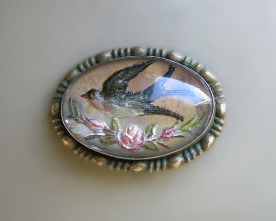 Goofus Glass Intaglio Brooch Vintage Bird Pin By Gradyladies