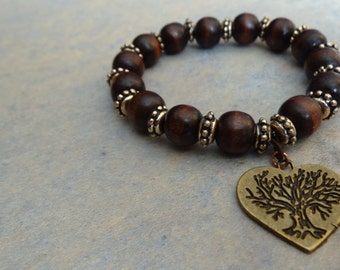 Wooden Heart Tree Charm Bracelet