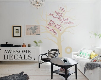 Tree Wall Decal – Quote Wall Decal – Custom Wall Art – Large Wall Decal – Living Room Wall Art – Vinyl Decals - Awesome decals / 010