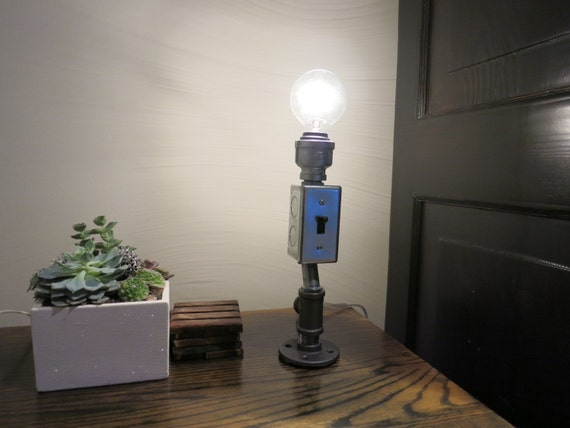 Industrial Galvanized Pipe Table Desk Lamp W Switch Box And