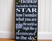 Twinkle Twinkle Little Star..... Hand Painted Typography Sign for Nursery