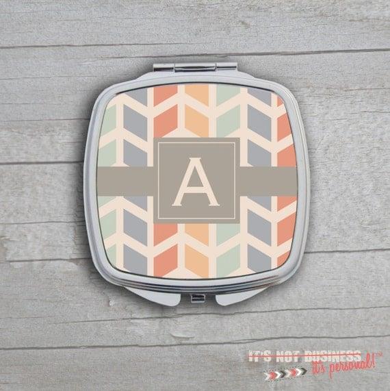 Compact Mirror - Multi Color Herringbone Monogram Personalized