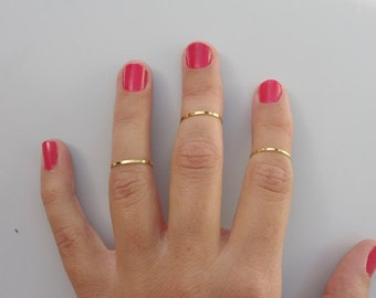 3 Above the Knuckle Rings - Plain Band Knuckle Rings, gold thin shiny rings - set of 3 midi rings, unique gift for her
