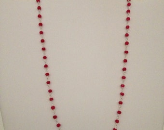 18 inch 4 mm facet ruby gemstone rondelle beads station wire wrap sterling silver necklace