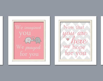 Nursery Quad, Pink and Grey Nursery, Elephant Nursery, Set of 4 8X10, Pink, Grey, Nursery Poem