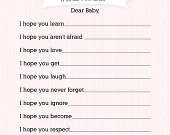 Girl Baby Shower Activity: Wishes for Baby