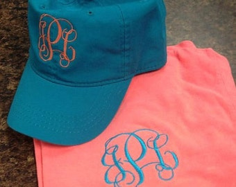 Monogram Tee and Hat Set - Comfort Color | Short Sleeve Tee | Gift for Her | Monogrammed Tshirt and Cap | Bridesmaid Gift | tshirt and cap