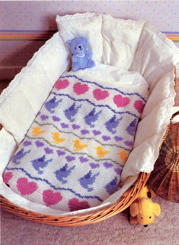 Crochet Baby Blanket Patterns Worsted Weight Yarn : Crochet Pattern SWEET BABY BLANKET with Fabric Lining