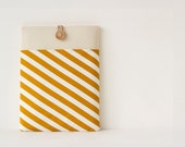 iPad mini case, iPad mini sleeve, 8 inch Custom Tablet case / Candy Stripe Goldenrod - PochetteGavotte