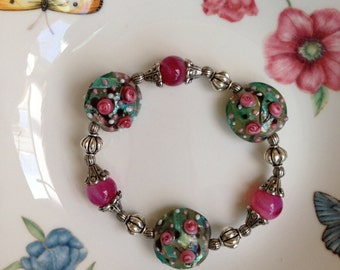Lampwork Flowers and Raspberry Beads with Silver Accents