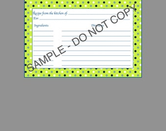 Lime Green and Blue Polka Dots Recipe Card- PRINTABLE& Digital Download