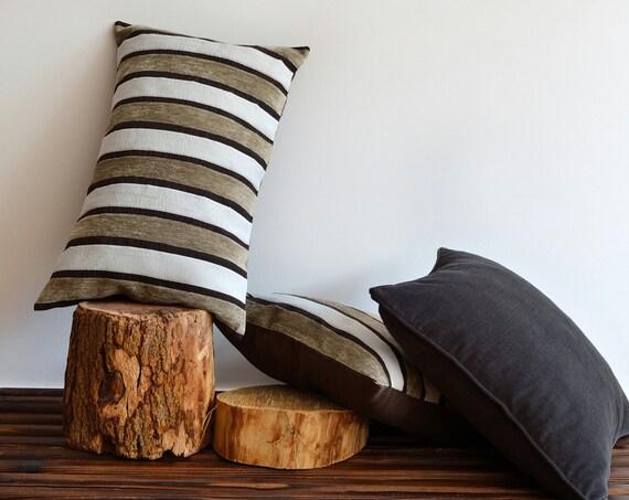 Modern Family Pillow Stripe : Decorative Modern Striped Pillow Cover 16x25 Lumbar Throw