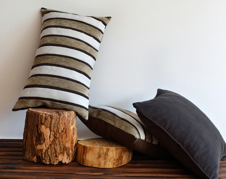 Modern Striped Pillows : Decorative Modern Striped Pillow Cover 16x25 Lumbar Throw