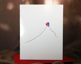 Two Hearts One Kite - Love Letterpress Card