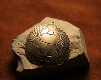 Egyptian scarab, brass pendant , handmade metal jewelry