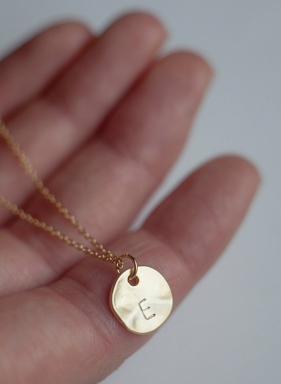 Gold round disc initial necklace bridesmaid jewelry like this item aloadofball Images