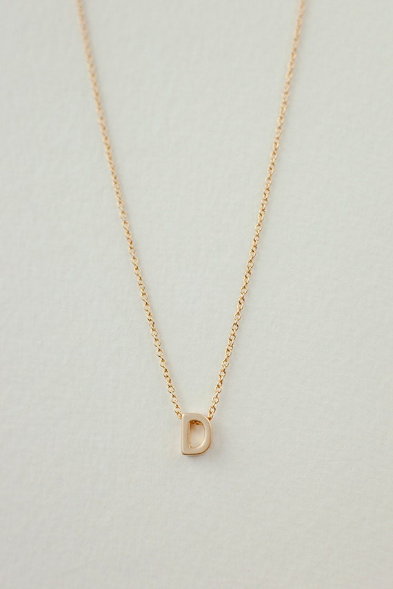 Items Similar To Tiny Gold Letter D Necklace Custom Initial Necklace