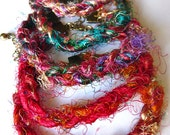 Recycled Indian Sari Silk Yarn Braided Bracelet - Recycled - Colorful - Unique - India -Sari - Silk - Braid