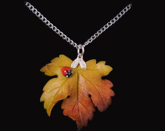 Yellow Sycamore Leaf and Ladybird Necklace