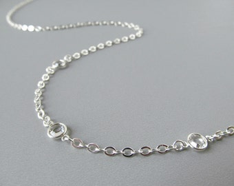 Silver Eyeglass Chain - Clear Crystals - For Women - Reading Glasses Chain - Eye Glass Chain - Eyeglass Leash - Eyeglass Necklace Chain