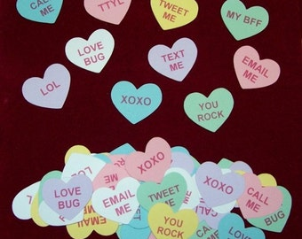 Scrapbook Valentine Conversation Hearts Die Cuts, Current, 60 pieces