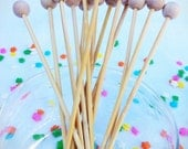 "100 Cake Pop, Rock Candy, Lollipop, Cotton Candy Sticks with ball, 6"" long"