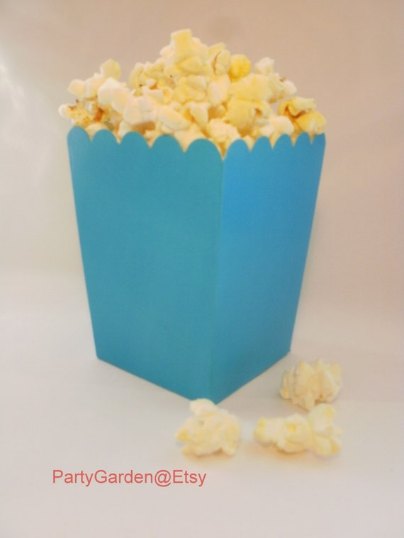 Blue popcorn favor boxes : Mini turquoise blue popcorn boxes treats favors by the