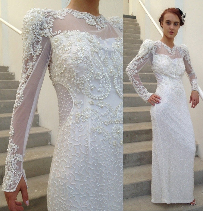 Vintage Wedding Dresses 80s: ON SALE 1980's Wedding Dress // Beaded Illusion Bodice