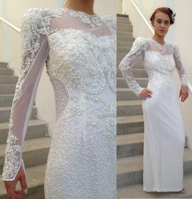 1980s Wedding Dresses: ON SALE 1980's Wedding Dress // Beaded Illusion By