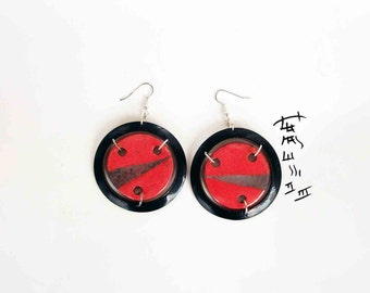 earrings ceramic raku and vinyl - red passion records