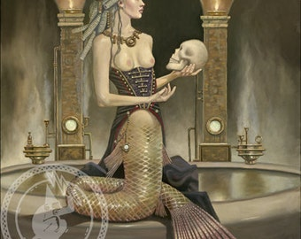 """Mermaid in Corset with Skull (Unframed 18""""x24"""" Giclée Print) Art  by David Delamare (Victorian / Steampunk)"""
