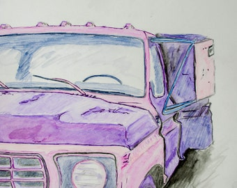Old Truck, ink and watercolour