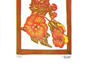 In Bloom - Linocut Reduction Print 5x6