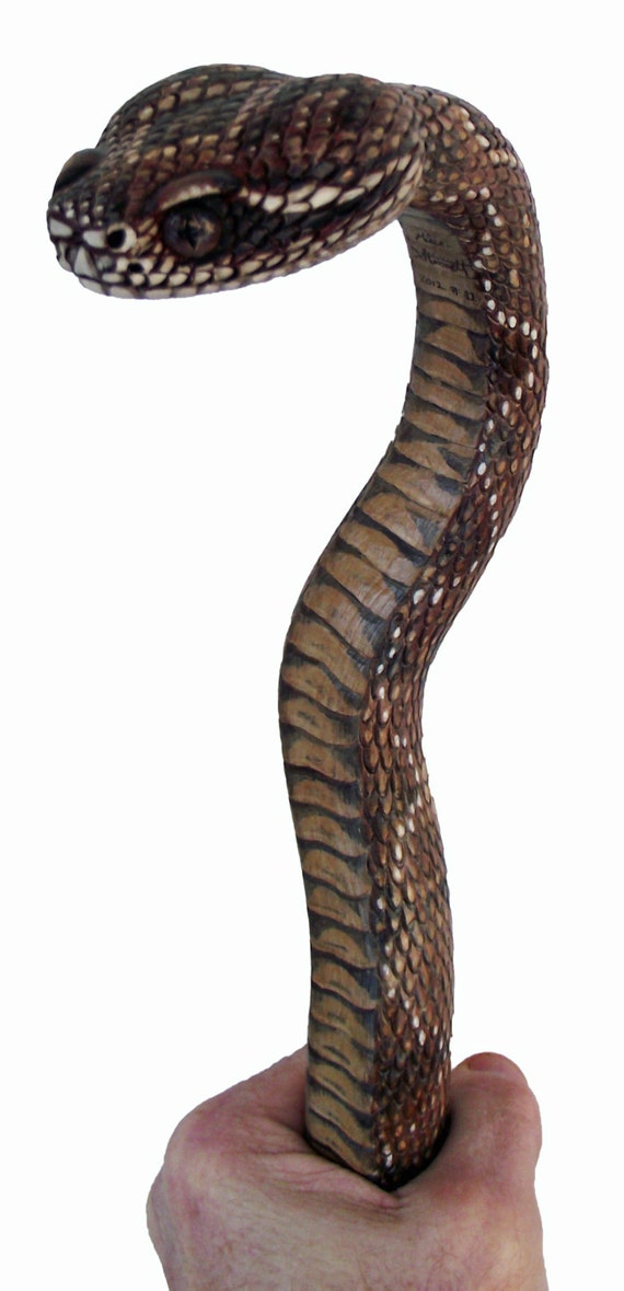 Wood Carved Rattlesnake Walking Cane By Stinnettstudio On Etsy