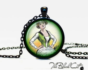 Lucky charm  Pendant St. patrick's day vintage style Jewelry Green Necklace for him Art Gifts for Her saint patricks day