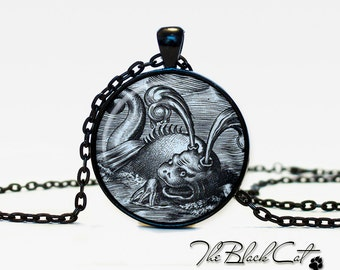 Sea Monsters pendant  Sea Monsters jewelry Vintage Ship necklace Antique Style Ship Sea Monsters Antique Nautical Maps (PS0012)